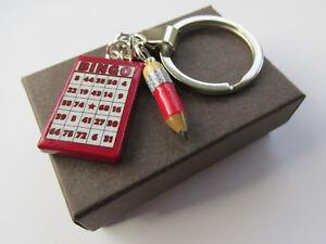Bingo - Miniature Fun Bingo Card & Pencil Charm Gift Keyring Boxed - Handmade