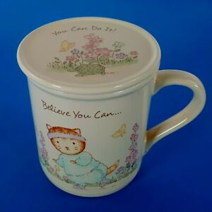Vintage 1987 Hallmark Coffee Mug Tea Cup With Lid Believe You Can Do It