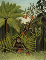 """perfect 24x36 oil painting handpainted on canvas """"monkeys  in the jungle""""@N15314"""
