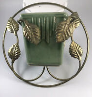 Vintage Art Pottery Wall Pocket Planter With Decorative Metal Wall Holder