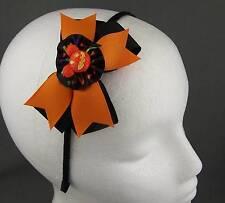 Black Orange halloween bow pumpkin ribbon wrapped thin skinny headband hair band