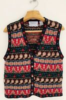 Vtg SIGNATURES by NORTHERN ISLES Women Sweater Vest Sz L Hand Embroidered Multi