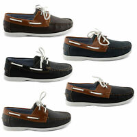 NEW MENS FAUX LEATHER TWO TONE LEATHER LINED CASUAL BOAT DECK SHOES SIZE