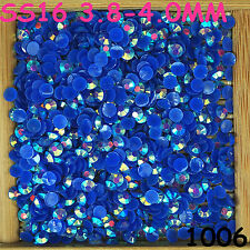 6000pcs SS16 Dark Blue AB Non Hotfix Crystal Acryl Rhinestone Beads Flatback