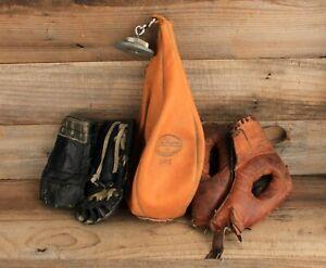 Antique JC Higgins Leather Boxing Bag, Gloves & Face Mask