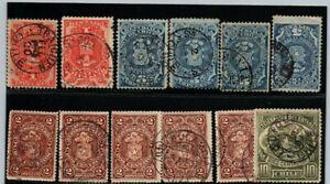CHILE revenue & telegraph stamps SON postmarks BOB Traiguen Iquique Ambulancia