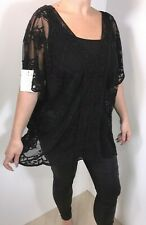 NEW Black Lace Kaftan Tunic Semi Sheer Mesh Embroidered Scalloped Fits 18-24