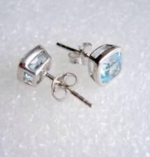 Ohrringe, Ohrstecker mit Blautopas, 925er Silber - Topas