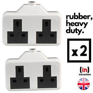 Heavy DUTY Rubberised Socket Extension Electric Trailing Socket High Impact 2PCS