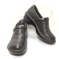 Women's B.O.C. Born Concept Brown Leather Loafers Clogs Size 6 M