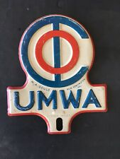 Vintage 1950's UMWA Union Mine workers License plate topper sign coal oil gas