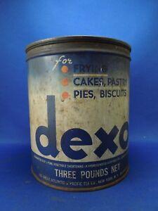3lb Dexo Blue & White Vintage Shortening Can Canco w/ Three Recipes