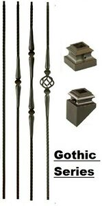 Iron Balusters Iron Spindles Metal Stair Parts Hollow Gothic Satin Black