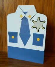 Handmade Police Uniform Card w/ Envelope Thank You! Personalized message inside