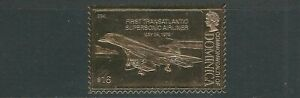 DOMINICA 1978 AVIATION 'FIRST TRANS-ATLANTIC SUPERSONIC AIRLINER' GOLD FOIL MNH