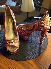 WILD Paris SZ 8M Orange Multi/Spike Heels