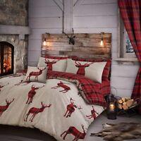 Tartan Stag Deer Reversible Check Duvet Quilt Cover Set Bedding Natural Red