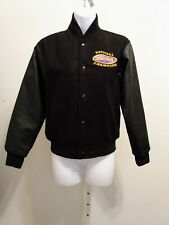 New listing American Cheer Power Wool PU Leather Lined Pockets Snaps Jacket Size YL