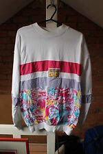VINTAGE 80's WOMENS SWEATSHIRT - FLOWER DESIGN - LARGE (14/16) - FESTIVAL