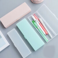 Clear Plastic Pencil Case Pen Box Kids Stationery Office School Supplies Boxes