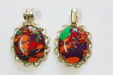 Lot of 2 Manmade Colourful Turquoise Pendants set in Nickel Silver