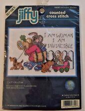 Susnset Jiffy Invincible Woman Bunny 16690 Counted Cross Stitch Kit 7x5 1999 USA