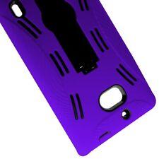 For Nokia Lumia Icon 929 Case Hard Soft Dual Layer Purple Black Hybrid Cover
