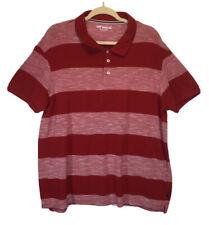 Lee Premium  Mens Polo Shirt Red Striped Short Sleeve 2XL XXL Cotton NWOT