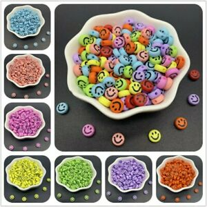 100 Emoji Smiley Faces 7mm Mixed Colours Jewellery & Crafting. UK Seller