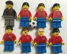 Lot of Eight (8) LEGO Soccer Red/Blue Team Players from 2002