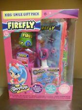 NIB Shopkins: Firefly Kids Smile Gift Set-Blue Toothbrush/Paste/Rinse