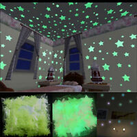 100 Wall Glow In The Dark Stars Moon Stickers Baby Kids Nursery Bed Room Ceiling