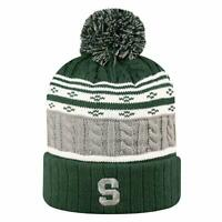 Michigan State MSU Spartans NCAA Cuffed Knit Pom Winter Hat Stretch Top o World