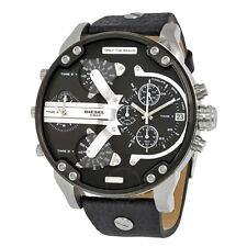NEW MENS DIESEL (DZ7313) BIG DADDY 2.0 SBA BLACK SILVER LEATHER STRAP WATCH SALE