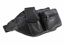Genuine Traditional Soft Leather Black Bum Bag With Phone Pocket - 1963