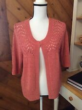 AUGUST SILK Peach Pink SWEATER open weave 3/4 sleeve CARDIGAN size L
