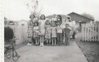 DRIVEWAY PORTRAIT Found Photograph KIDS bw FREE SHIPPING Original VINTAGE 96 11