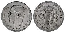 1 SILVER PESETA-1 PESETA PLATA. ALFONSO XII. MADRID 1885*86. VF-/MBC-. OCASIÓN.