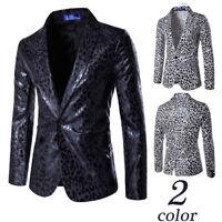 Men's Fashion Slim Fit Jackets Suit Leopard Printed Casual Blazers Suits Coats
