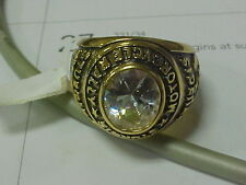NEW 2004 Sturgis Motorcycle Rally Gold Ring Size 9 Clear Stone