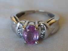 14K White Gold Solitaire Pink Sapphire Diamond Ring - 4.5 grms, Size 5, 0.85 ctw