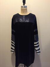 H&M Studio A/W 2014 Navy Black White Velvet Beaded Dress Sz 12 NWT