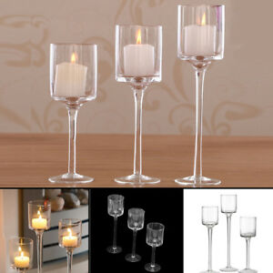 Set of 3 Tall Glass Large Candle Holders Centrepiece Tea-Light Wedding Candles