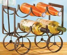 "Country Style Wagon Tabletop Wine Bottle Holder 13""L Holds 6 Bottles, 2 Glasses"