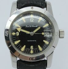 VINTAGE Paul LeGrande Mens 36mm Steel Automatic 666ft Divers Watch = GREAT LUME