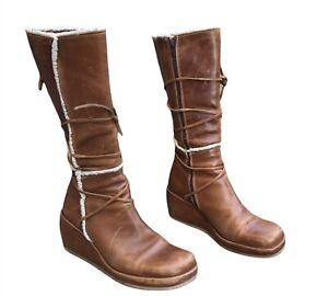 Y2K / 90s platform womens destroy boots Sherpa Tan Leather Lace Up EU 40