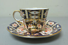 BEAUTIFUL ROYAL CROWN DERBY PORCELAIN IMARI #2451 CUP & SAUCER, c. 1937 RED MARK