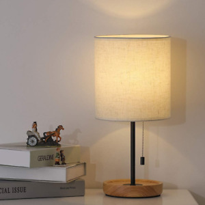 Modern Table Lamp, Nightstand Desk Lamp, Bedside Lamp with Wood Base and Linen