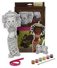 Puppe Awalé mit Löwe aus Stoff zum Bemalen mit Farben, Pinsel, Stoffpuppe 30 cm