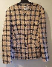 Ladies Wool blend Beige jacket with Black pattern jacket by Rico Ponti, size 14